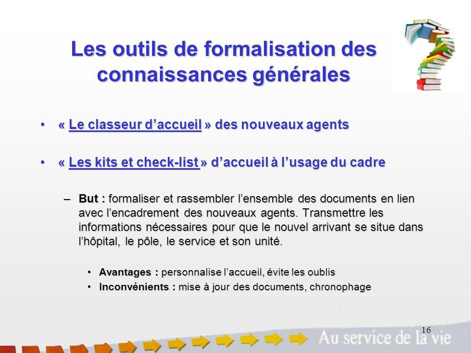16 Les outils de formalisation des connaissances générales « Le classeur daccueil » des nouveaux agents« Le classeur daccueil » des nouveaux agents «