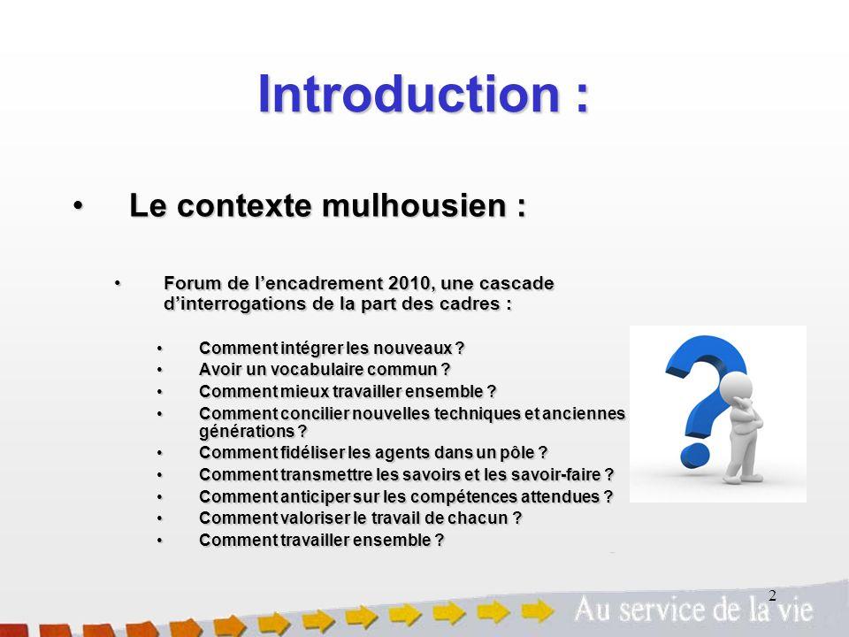 2 Introduction : Le contexte mulhousien :Le contexte mulhousien : Forum de lencadrement 2010, une cascade dinterrogations de la part des cadres :Forum