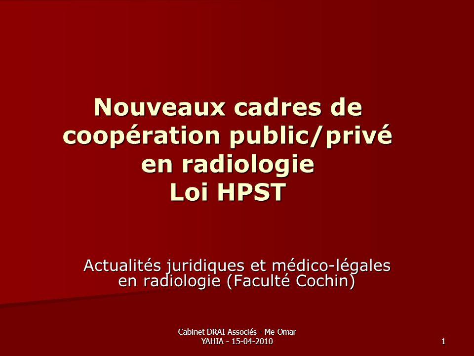 Cabinet DRAI Associés - Me Omar YAHIA - 15-04-2010 1 Nouveaux cadres de coopération public/privé en radiologie Loi HPST Actualités juridiques et médic