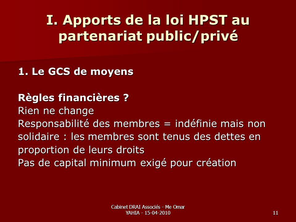 Cabinet DRAI Associés - Me Omar YAHIA - 15-04-201011 I. Apports de la loi HPST au partenariat public/privé 1. Le GCS de moyens Règles financières ? Ri