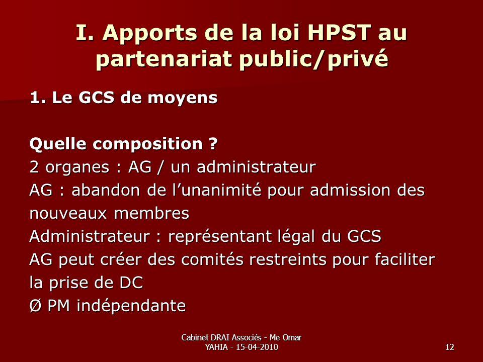 Cabinet DRAI Associés - Me Omar YAHIA - 15-04-201012 I. Apports de la loi HPST au partenariat public/privé 1. Le GCS de moyens Quelle composition ? 2