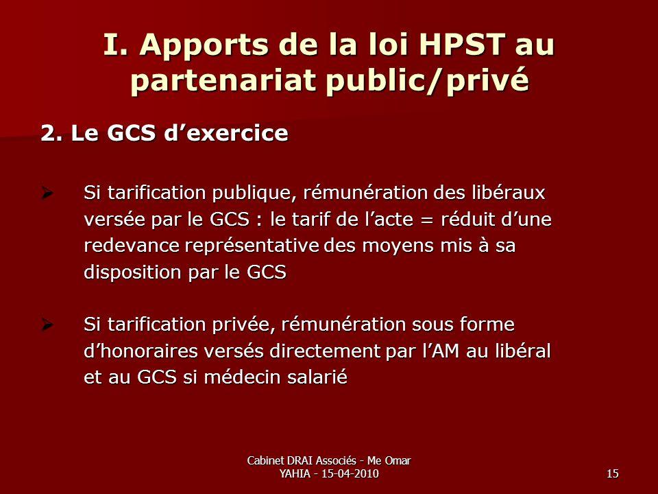 Cabinet DRAI Associés - Me Omar YAHIA - 15-04-201015 I. Apports de la loi HPST au partenariat public/privé 2. Le GCS dexercice Si tarification publiqu
