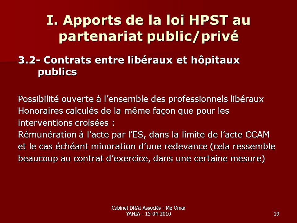 Cabinet DRAI Associés - Me Omar YAHIA - 15-04-201019 I. Apports de la loi HPST au partenariat public/privé 3.2- Contrats entre libéraux et hôpitaux pu