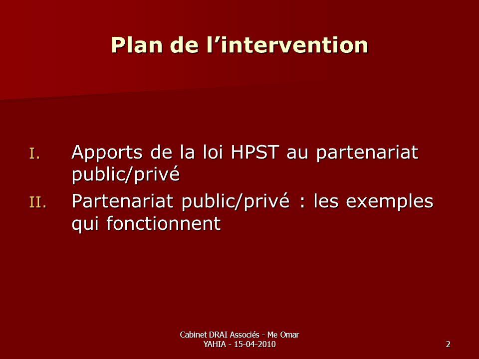 Cabinet DRAI Associés - Me Omar YAHIA - 15-04-20102 Plan de lintervention I. Apports de la loi HPST au partenariat public/privé II. Partenariat public
