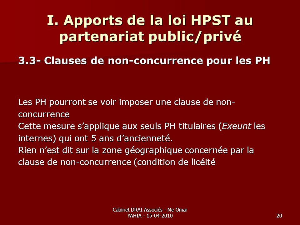 Cabinet DRAI Associés - Me Omar YAHIA - 15-04-201020 I. Apports de la loi HPST au partenariat public/privé 3.3- Clauses de non-concurrence pour les PH