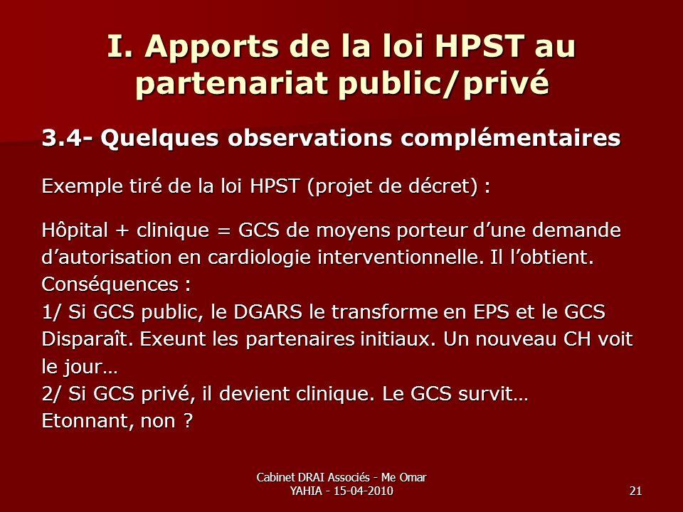 Cabinet DRAI Associés - Me Omar YAHIA - 15-04-201021 I. Apports de la loi HPST au partenariat public/privé 3.4- Quelques observations complémentaires