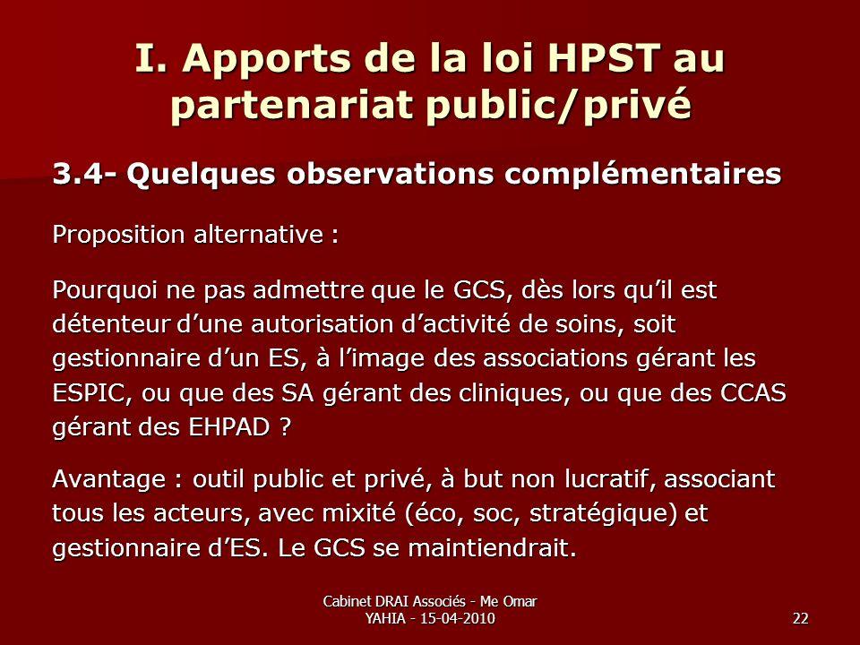 Cabinet DRAI Associés - Me Omar YAHIA - 15-04-201022 I. Apports de la loi HPST au partenariat public/privé 3.4- Quelques observations complémentaires