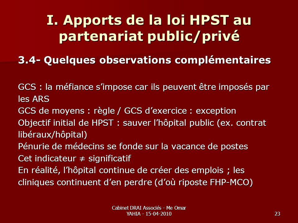 Cabinet DRAI Associés - Me Omar YAHIA - 15-04-201023 I. Apports de la loi HPST au partenariat public/privé 3.4- Quelques observations complémentaires