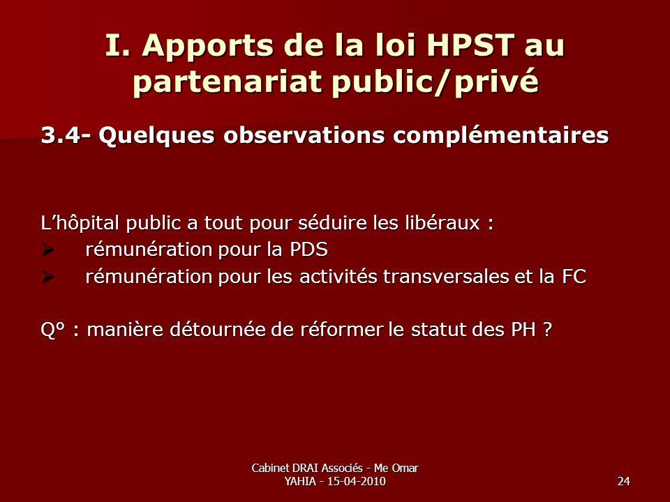 Cabinet DRAI Associés - Me Omar YAHIA - 15-04-201024 I. Apports de la loi HPST au partenariat public/privé 3.4- Quelques observations complémentaires