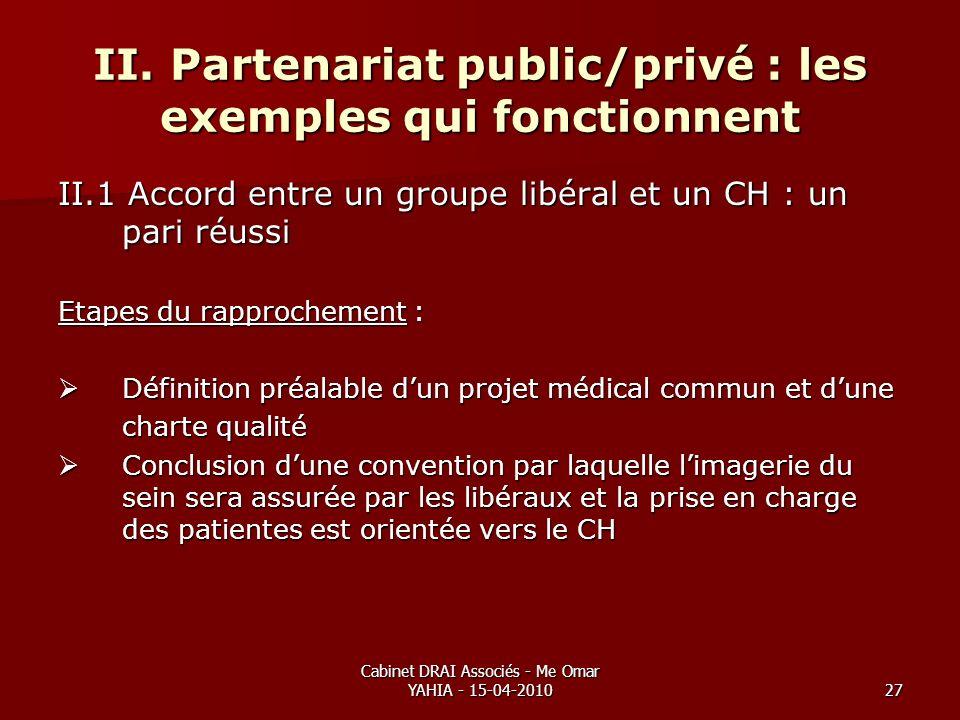 Cabinet DRAI Associés - Me Omar YAHIA - 15-04-201027 II. Partenariat public/privé : les exemples qui fonctionnent II.1 Accord entre un groupe libéral
