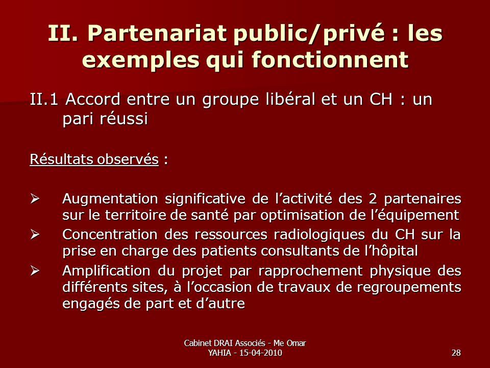 Cabinet DRAI Associés - Me Omar YAHIA - 15-04-201028 II. Partenariat public/privé : les exemples qui fonctionnent II.1 Accord entre un groupe libéral