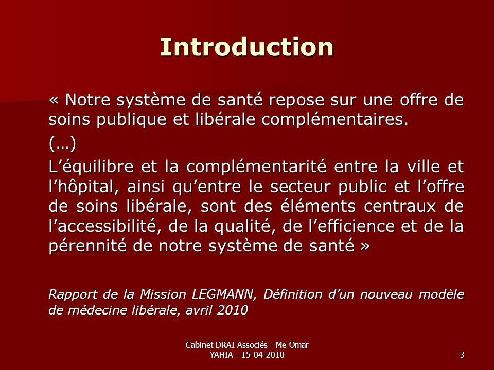 Cabinet DRAI Associés - Me Omar YAHIA - 15-04-20103 Introduction « Notre système de santé repose sur une offre de soins publique et libérale complémen