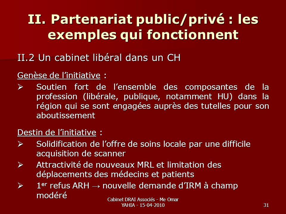 Cabinet DRAI Associés - Me Omar YAHIA - 15-04-201031 II. Partenariat public/privé : les exemples qui fonctionnent II.2 Un cabinet libéral dans un CH G