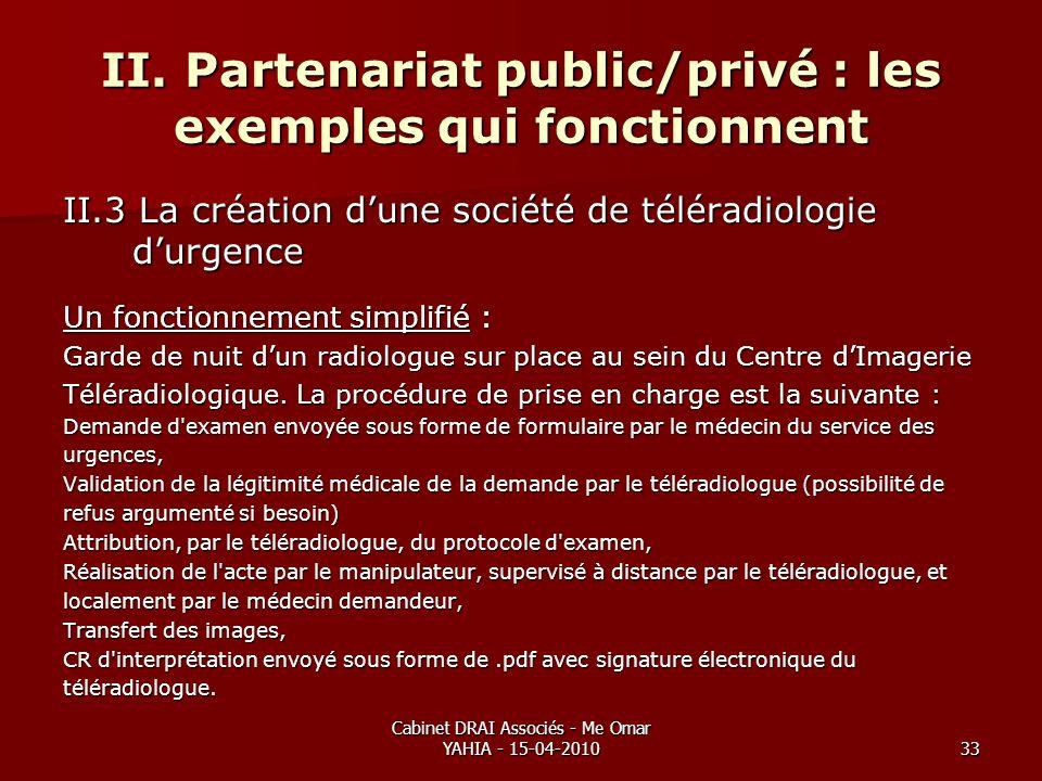 Cabinet DRAI Associés - Me Omar YAHIA - 15-04-201033 II. Partenariat public/privé : les exemples qui fonctionnent II.3 La création dune société de tél