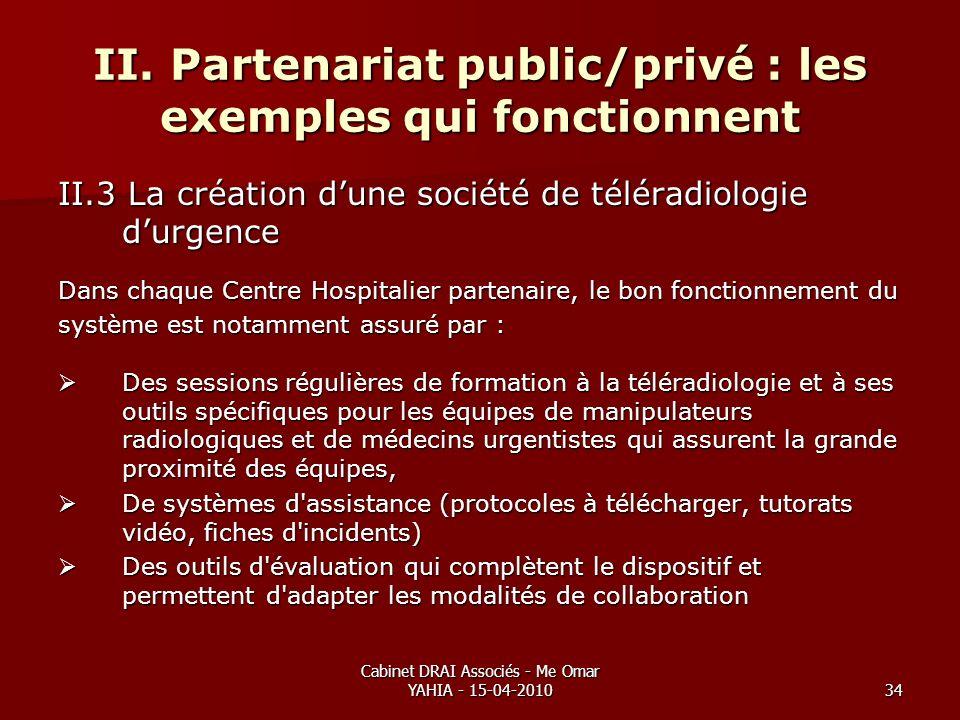 Cabinet DRAI Associés - Me Omar YAHIA - 15-04-201034 II. Partenariat public/privé : les exemples qui fonctionnent II.3 La création dune société de tél