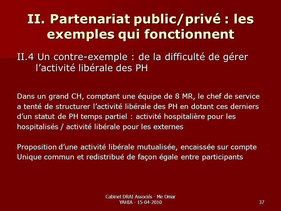 Cabinet DRAI Associés - Me Omar YAHIA - 15-04-201037 II. Partenariat public/privé : les exemples qui fonctionnent II.4 Un contre-exemple : de la diffi