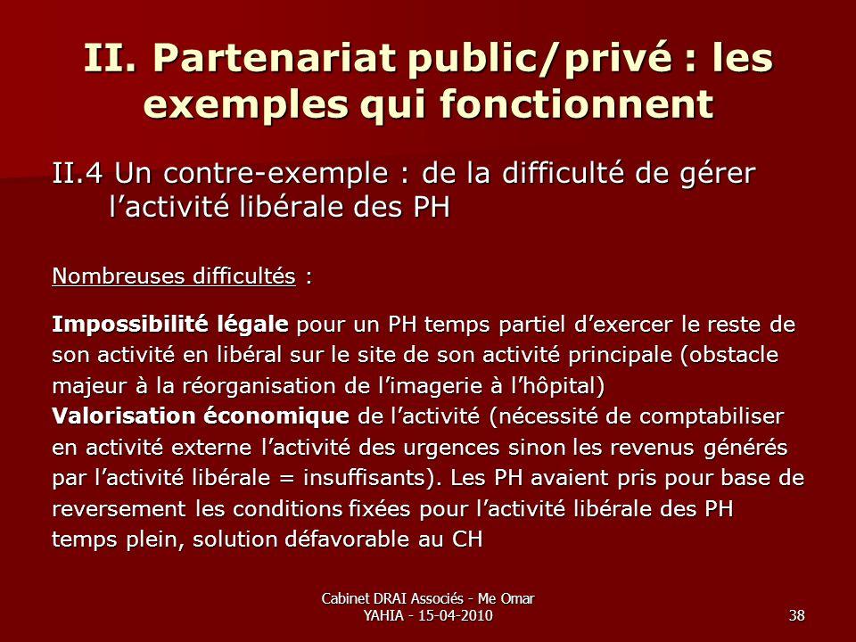 Cabinet DRAI Associés - Me Omar YAHIA - 15-04-201038 II. Partenariat public/privé : les exemples qui fonctionnent II.4 Un contre-exemple : de la diffi