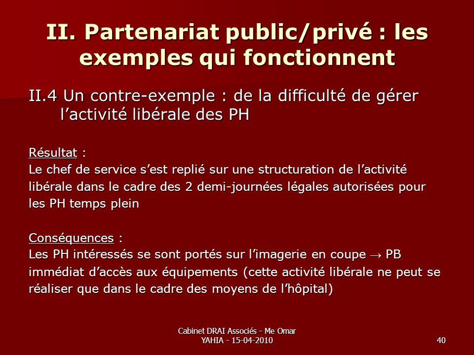 Cabinet DRAI Associés - Me Omar YAHIA - 15-04-201040 II. Partenariat public/privé : les exemples qui fonctionnent II.4 Un contre-exemple : de la diffi