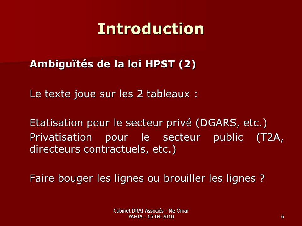 Cabinet DRAI Associés - Me Omar YAHIA - 15-04-20106 Introduction Ambiguïtés de la loi HPST (2) Le texte joue sur les 2 tableaux : Etatisation pour le