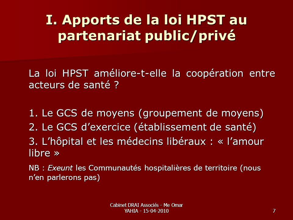 Cabinet DRAI Associés - Me Omar YAHIA - 15-04-20107 I. Apports de la loi HPST au partenariat public/privé La loi HPST améliore-t-elle la coopération e