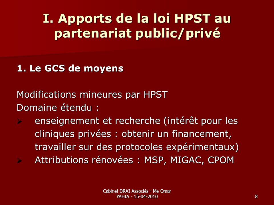 Cabinet DRAI Associés - Me Omar YAHIA - 15-04-20108 I. Apports de la loi HPST au partenariat public/privé 1. Le GCS de moyens Modifications mineures p
