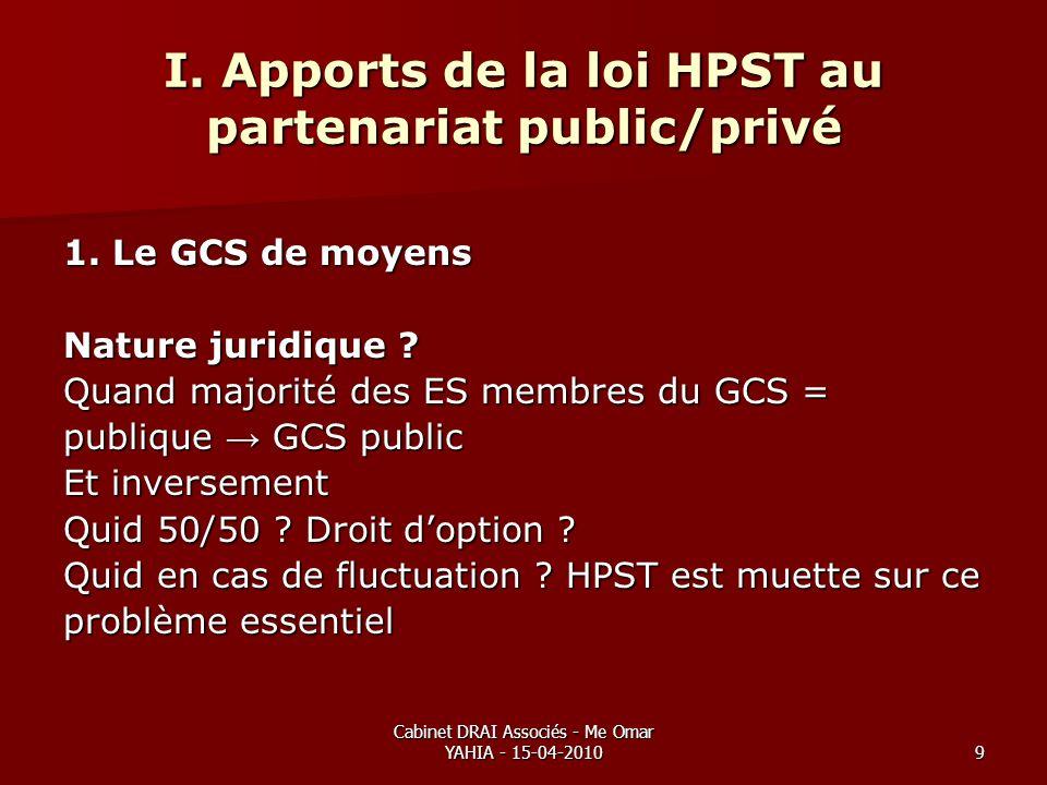 Cabinet DRAI Associés - Me Omar YAHIA - 15-04-20109 I. Apports de la loi HPST au partenariat public/privé 1. Le GCS de moyens Nature juridique ? Quand