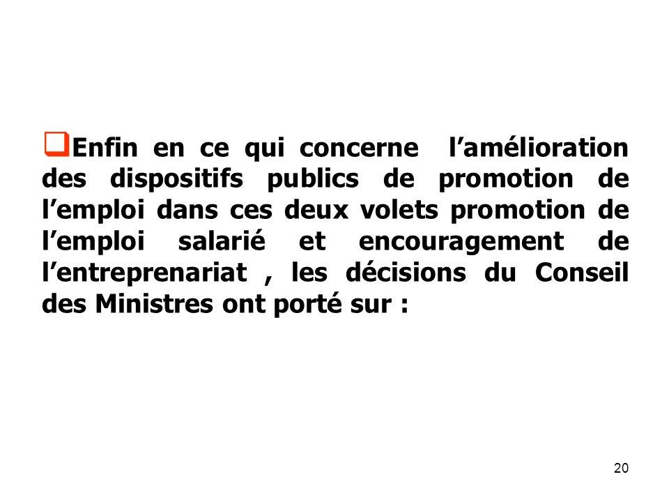 20 Enfin en ce qui concerne lamélioration des dispositifs publics de promotion de lemploi dans ces deux volets promotion de lemploi salarié et encouragement de lentreprenariat, les décisions du Conseil des Ministres ont porté sur :