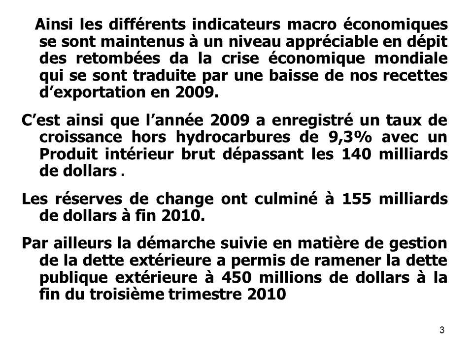 3 Ainsi les différents indicateurs macro économiques se sont maintenus à un niveau appréciable en dépit des retombées da la crise économique mondiale qui se sont traduite par une baisse de nos recettes dexportation en 2009.