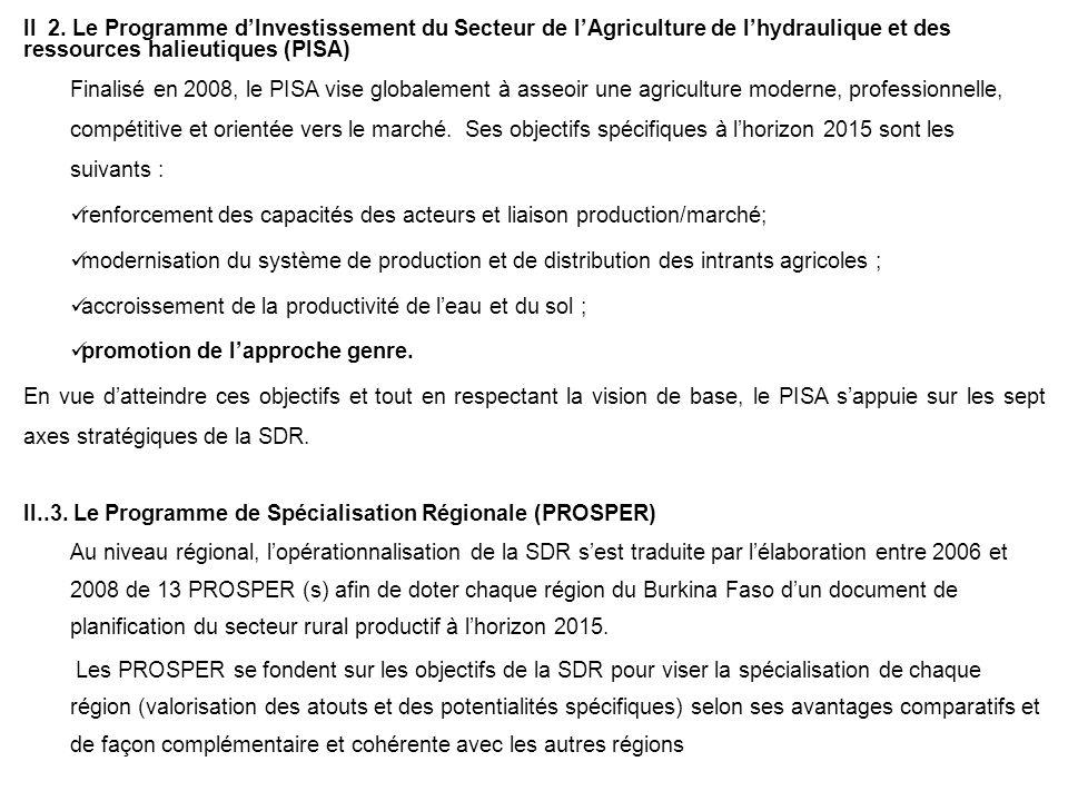 II 2. Le Programme dInvestissement du Secteur de lAgriculture de lhydraulique et des ressources halieutiques (PISA) Finalisé en 2008, le PISA vise glo