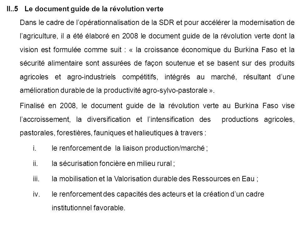 II..5 Le document guide de la révolution verte Dans le cadre de lopérationnalisation de la SDR et pour accélérer la modernisation de lagriculture, il