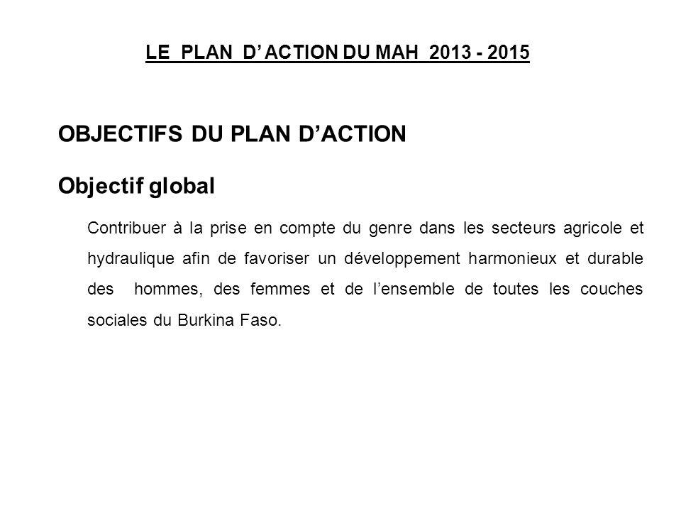 LE PLAN D ACTION DU MAH 2013 - 2015 OBJECTIFS DU PLAN DACTION Objectif global Contribuer à la prise en compte du genre dans les secteurs agricole et h