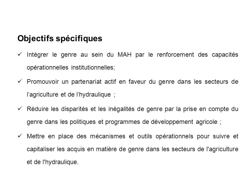 Objectifs spécifiques Intégrer le genre au sein du MAH par le renforcement des capacités opérationnelles institutionnelles; Promouvoir un partenariat