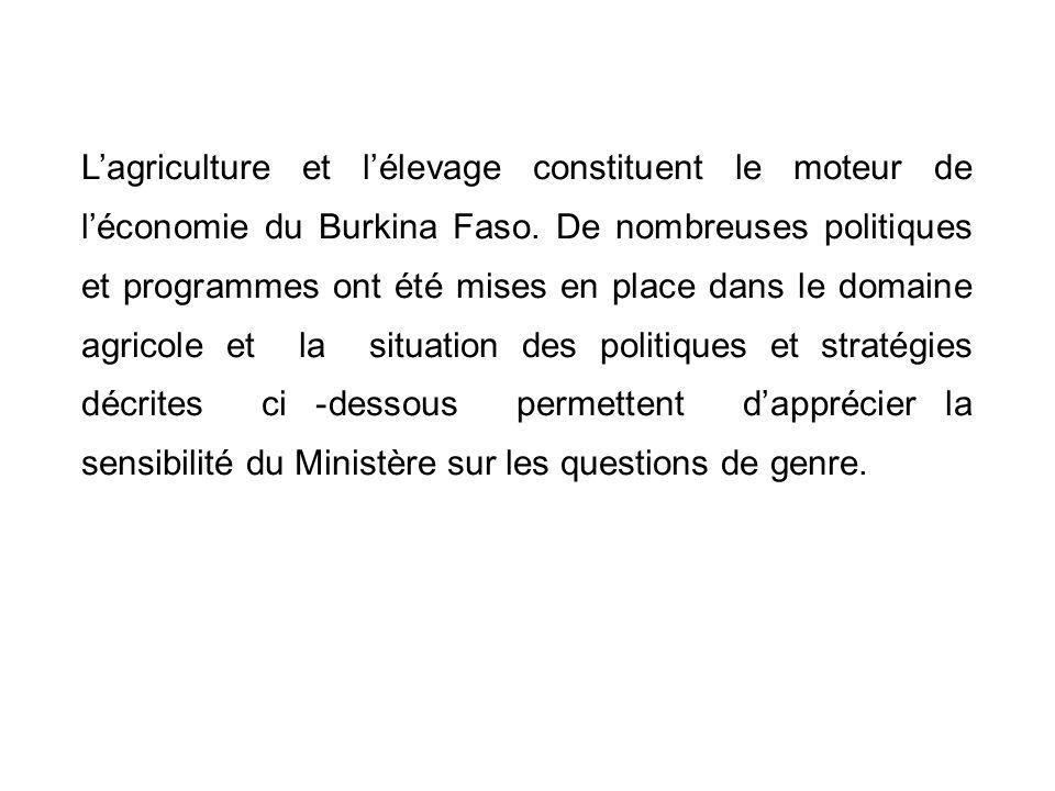 Lagriculture et lélevage constituent le moteur de léconomie du Burkina Faso. De nombreuses politiques et programmes ont été mises en place dans le dom