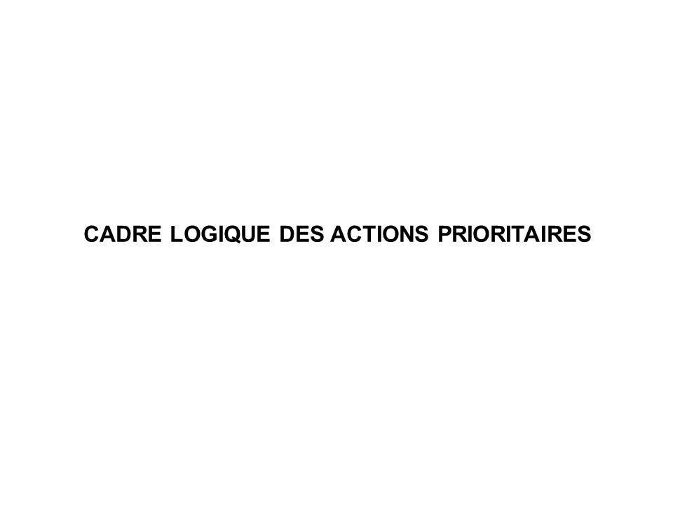 CADRE LOGIQUE DES ACTIONS PRIORITAIRES