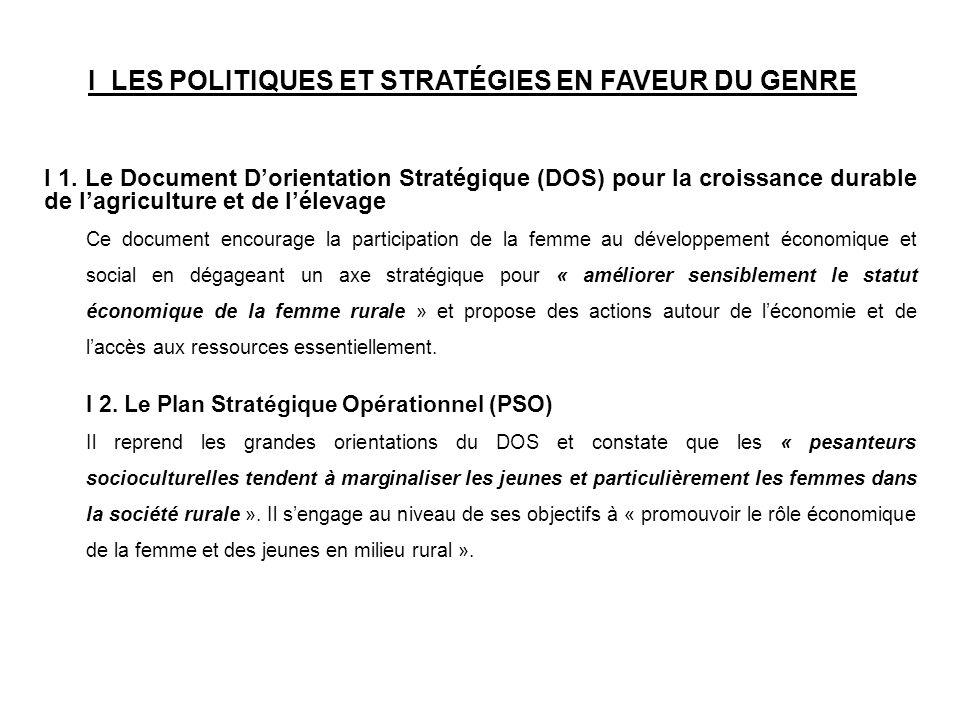 I LES POLITIQUES ET STRATÉGIES EN FAVEUR DU GENRE I 1. Le Document Dorientation Stratégique (DOS) pour la croissance durable de lagriculture et de lél