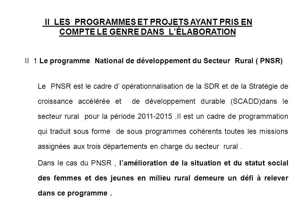 II LES PROGRAMMES ET PROJETS AYANT PRIS EN COMPTE LE GENRE DANS LÉLABORATION II 1 Le programme National de développement du Secteur Rural ( PNSR) Le P