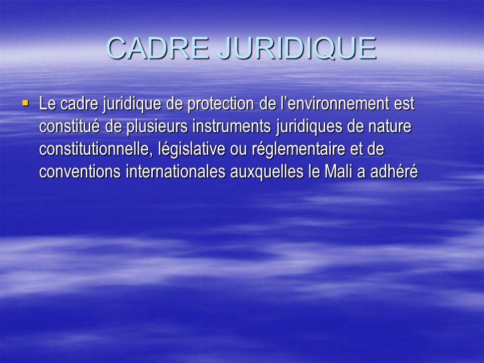 CADRE JURIDIQUE Le cadre juridique de protection de lenvironnement est constitué de plusieurs instruments juridiques de nature constitutionnelle, légi