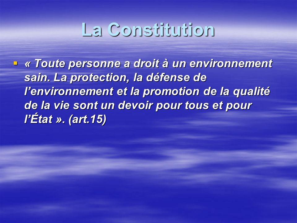La Constitution « Toute personne a droit à un environnement sain. La protection, la défense de lenvironnement et la promotion de la qualité de la vie