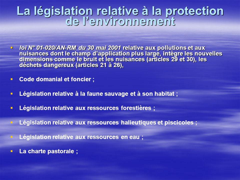 La législation relative à la protection de lenvironnement loi N° 01-020/AN-RM du 30 mai 2001 relative aux pollutions et aux nuisances dont le champ da