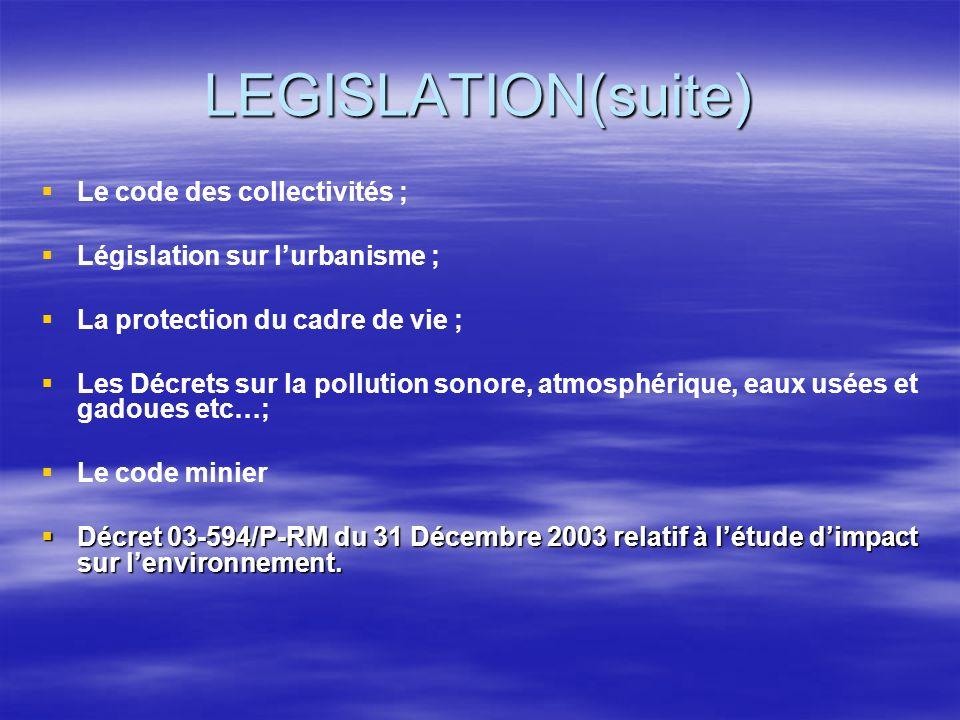 LEGISLATION(suite) Le code des collectivités ; Législation sur lurbanisme ; La protection du cadre de vie ; Les Décrets sur la pollution sonore, atmos