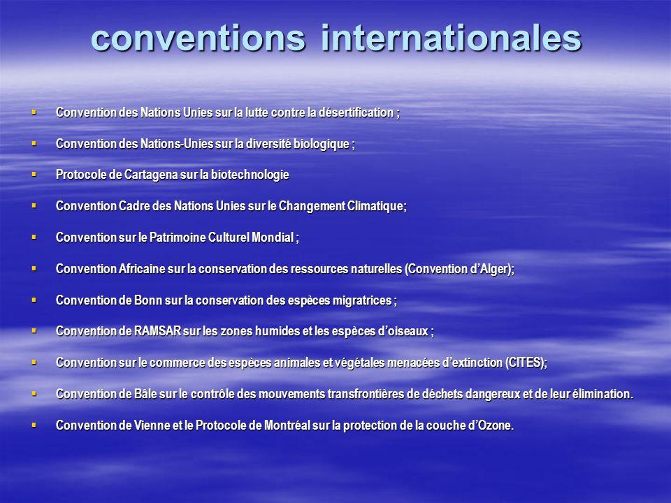 conventions internationales Convention des Nations Unies sur la lutte contre la désertification ; Convention des Nations Unies sur la lutte contre la