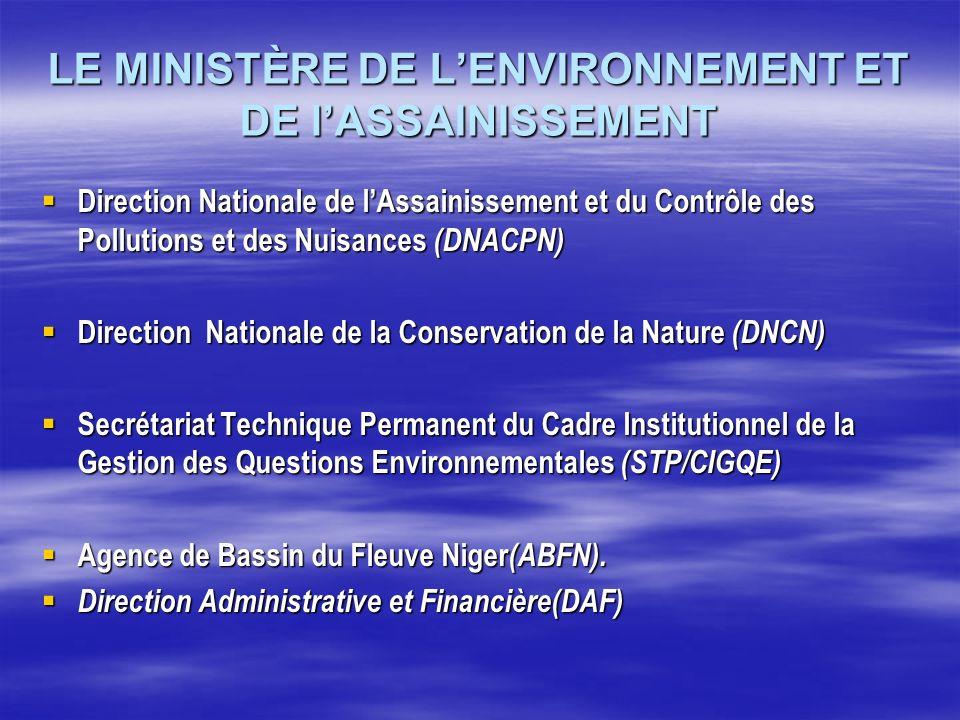 LE MINISTÈRE DE LENVIRONNEMENT ET DE lASSAINISSEMENT Direction Nationale de lAssainissement et du Contrôle des Pollutions et des Nuisances (DNACPN) Di