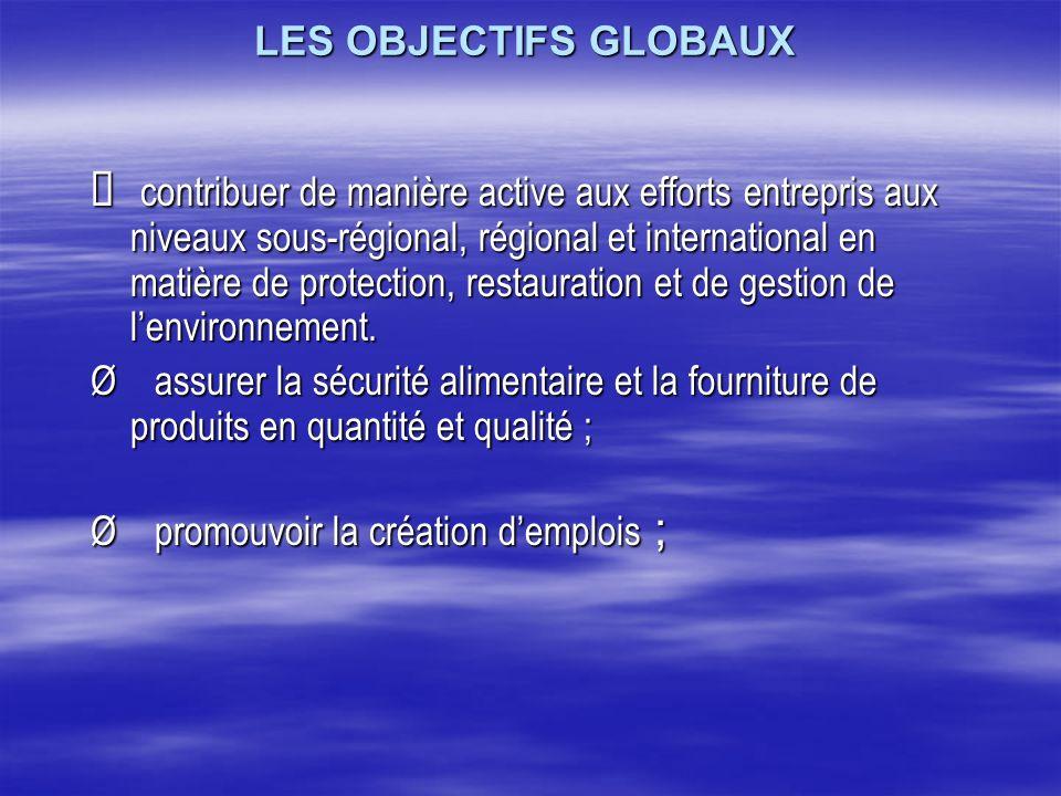 LES OBJECTIFS GLOBAUX LES OBJECTIFS GLOBAUX contribuer de manière active aux efforts entrepris aux niveaux sous-régional, régional et international en