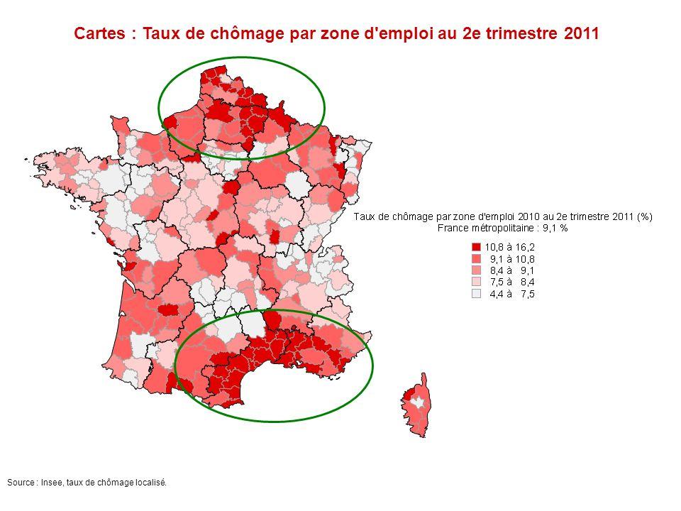 Cartes : Taux de chômage par zone d'emploi au 2e trimestre 2011 Source : Insee, taux de chômage localisé.