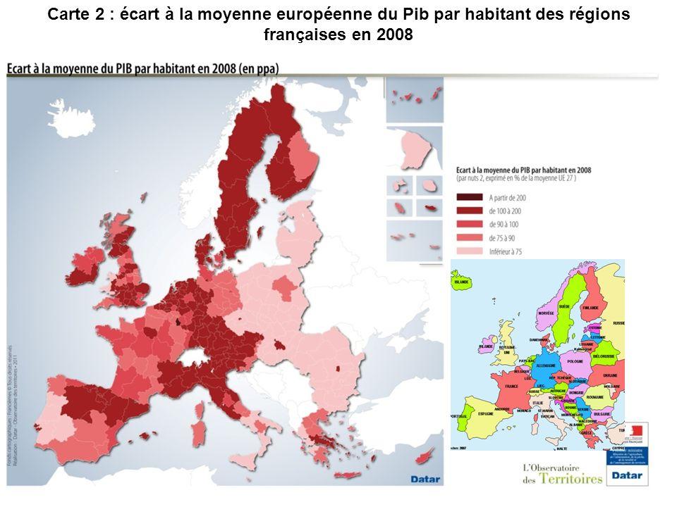 Carte 2 : écart à la moyenne européenne du Pib par habitant des régions françaises en 2008