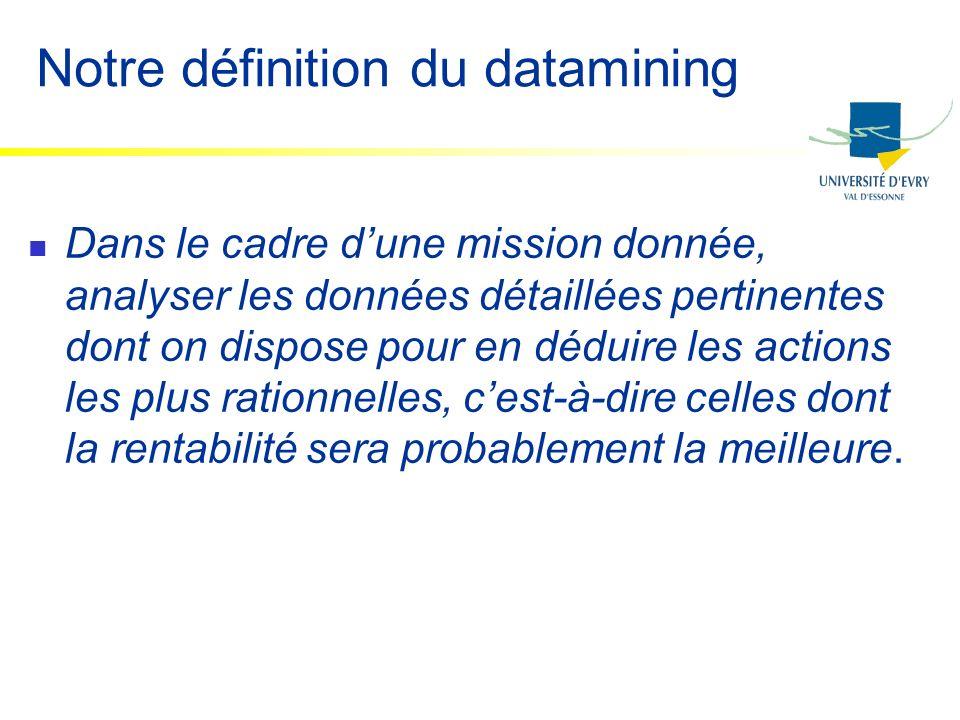 Notre définition du datamining Dans le cadre dune mission donnée, analyser les données détaillées pertinentes dont on dispose pour en déduire les acti