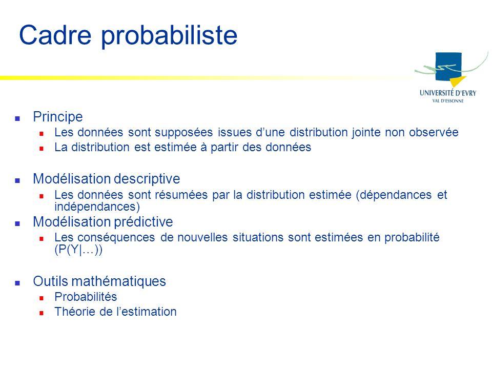 Cadre probabiliste Principe Les données sont supposées issues dune distribution jointe non observée La distribution est estimée à partir des données M