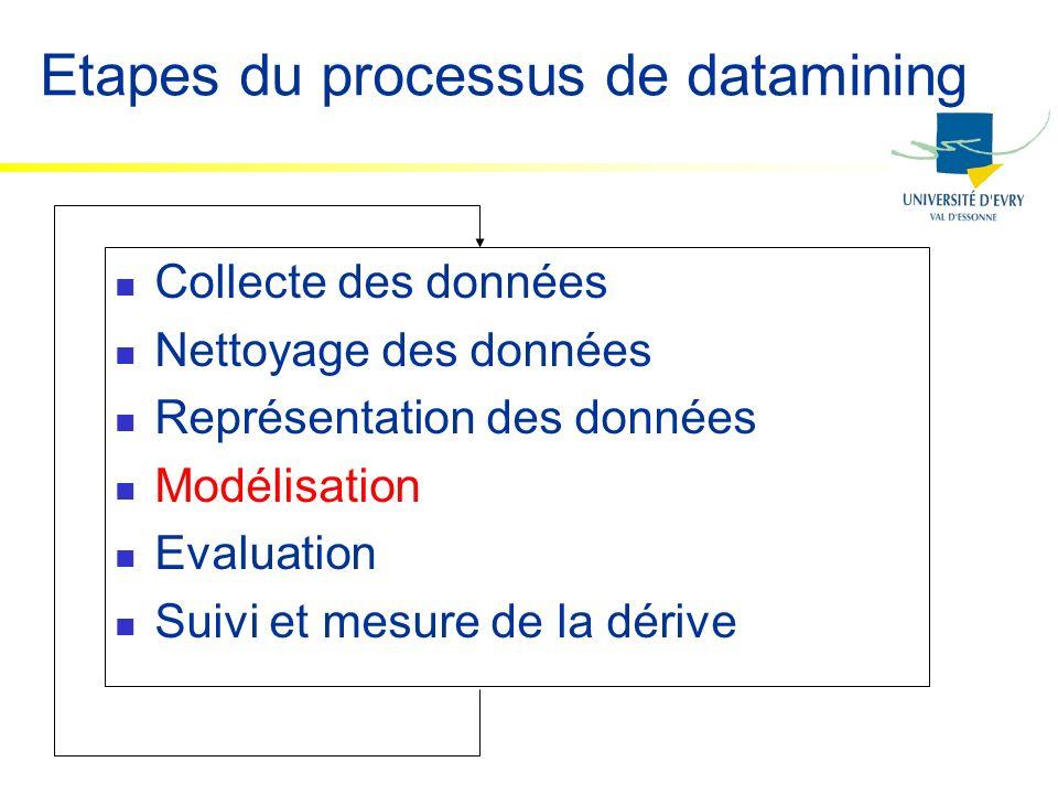 Etapes du processus de datamining Collecte des données Nettoyage des données Représentation des données Modélisation Evaluation Suivi et mesure de la