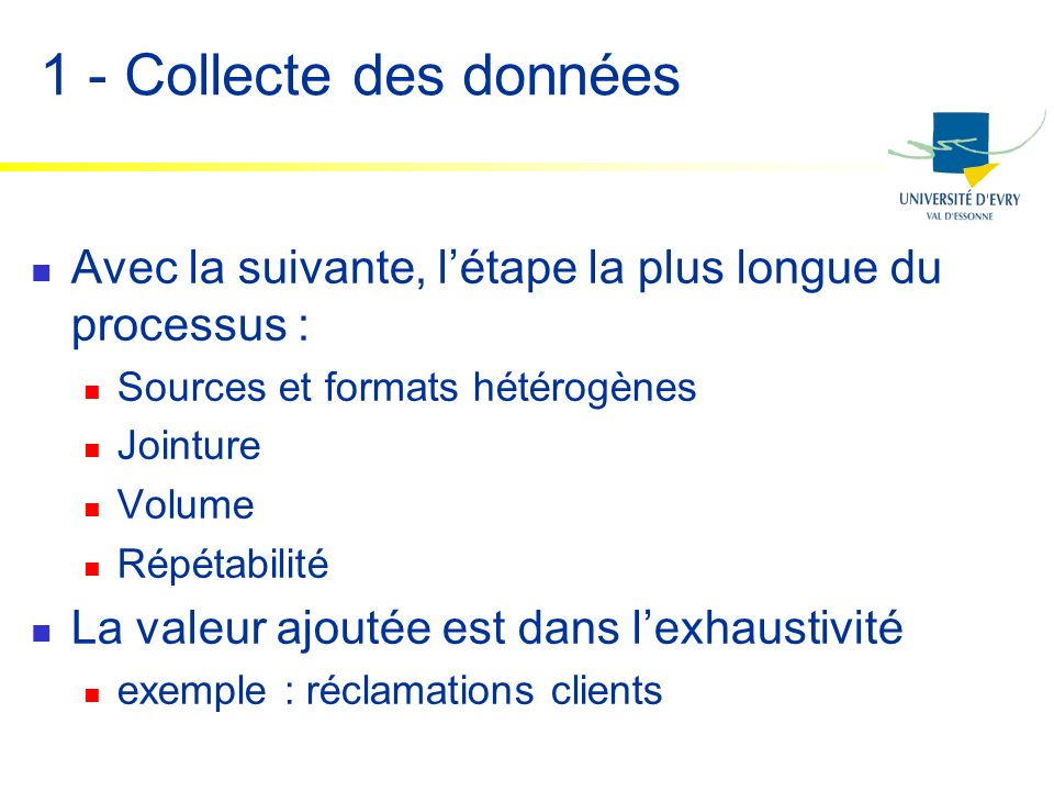 1 - Collecte des données Avec la suivante, létape la plus longue du processus : Sources et formats hétérogènes Jointure Volume Répétabilité La valeur