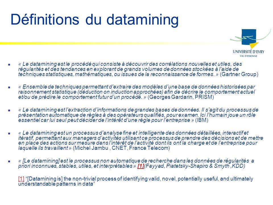Définitions du datamining « Le datamining est le procédé qui consiste à découvrir des corrélations nouvelles et utiles, des régularités et des tendanc